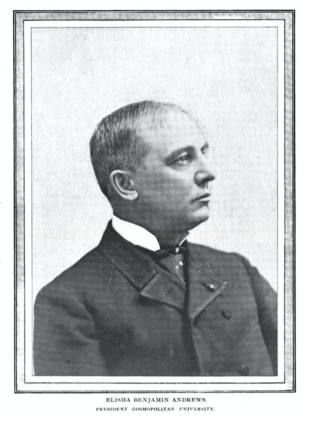 Image of Elisha Benjamin Andrews from The Cosmopolitan, 1897. Google Books.