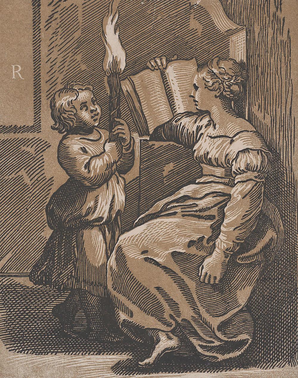A Sibyl Reading a Book, attributed to Ugo da Carpi, c. 1518.