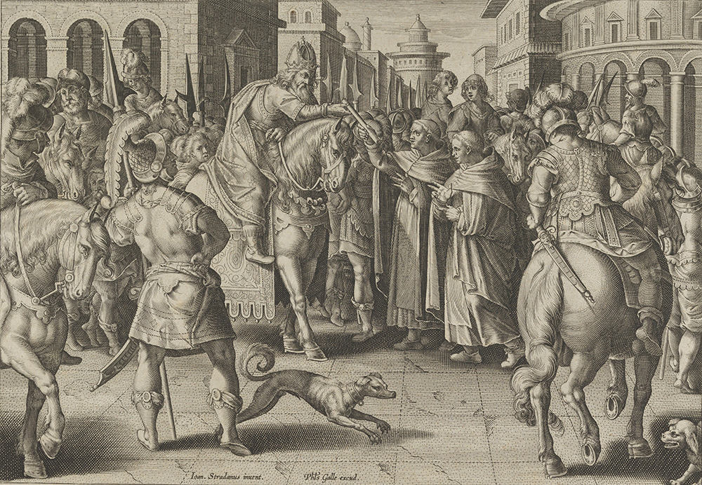 """""""Emperor Justinian Receiving the First Imported Silkworm Eggs from Nestorian Monks,"""" plate 2 from """"The Introduction of the Silkworm,"""" by Karel van Mallery, after Stradanus, c. 1595. The Metropolitan Museum of Art, The Elisha Whittelsey Collection."""