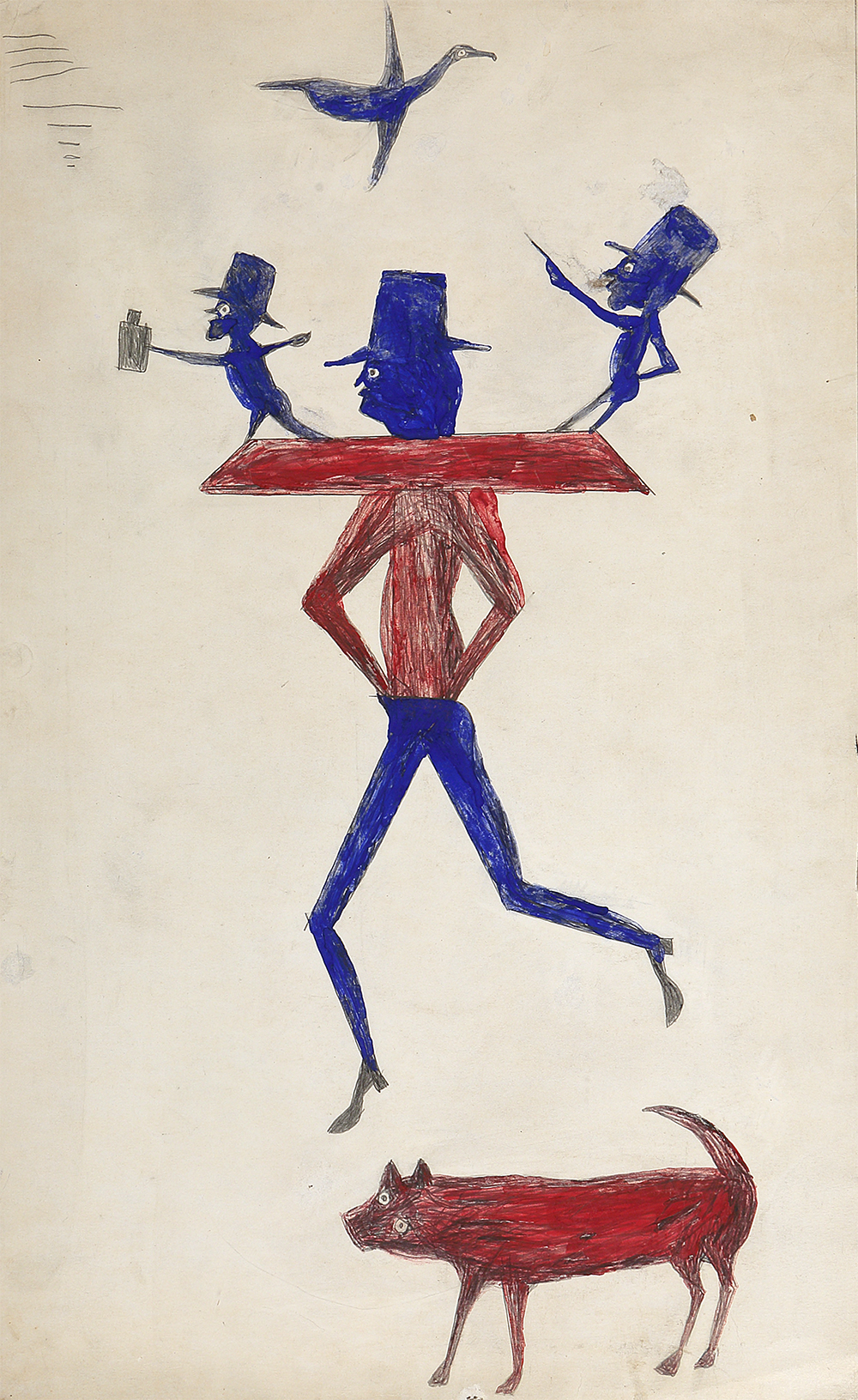 Man with Yoke, by Bill Traylor, c. 1939. Private Collection. Photo by Bonnie H. Morrison, NYC.