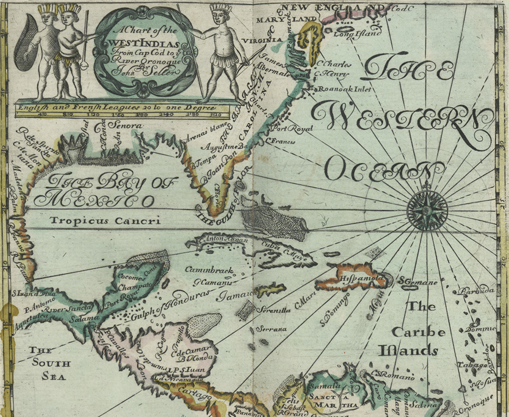 Chart of the West Indies from Cape Cod to the Oronoque River, 1682. The New York Public Library, Lionel Pincus and Princess Firyal Map Division.