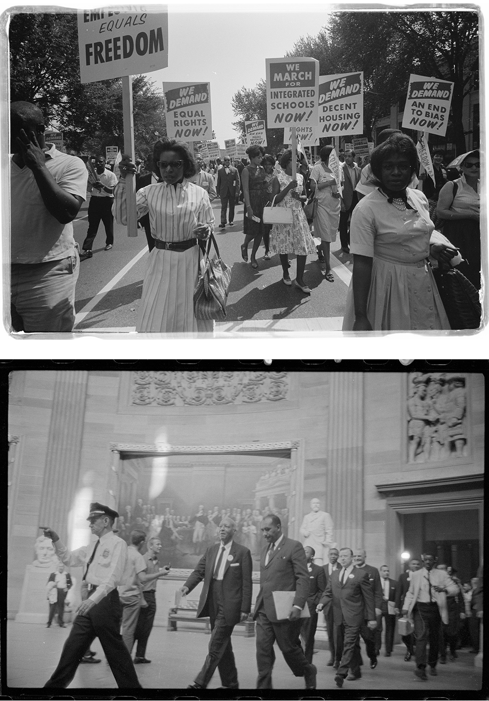 Top: March on Washington, 1963. Photograph by Warren K. Leffler. Bottom: A. Philip Randolph and other civil rights leaders on their way to Congress during the March on Washington, 1963. Photograph by Marion S. Trikosko.