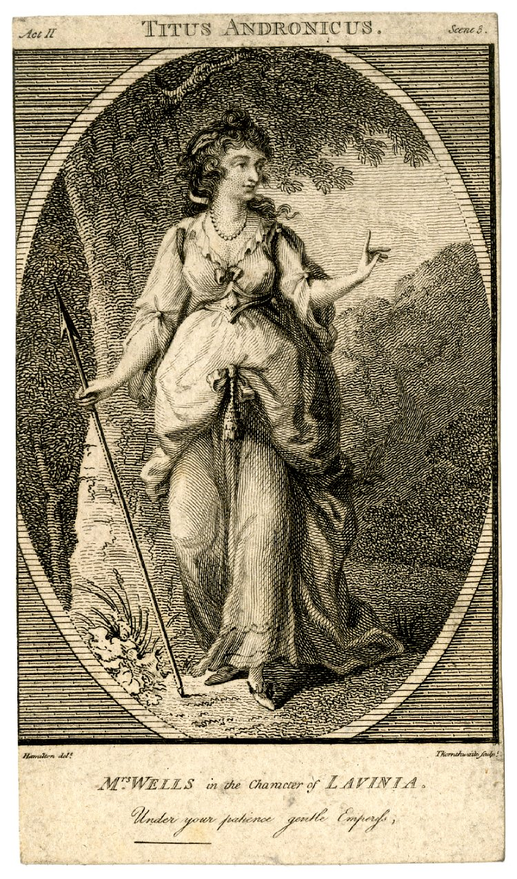 """Mary Wells as Lavinia in """"Titus Andronicus,"""" 1785."""