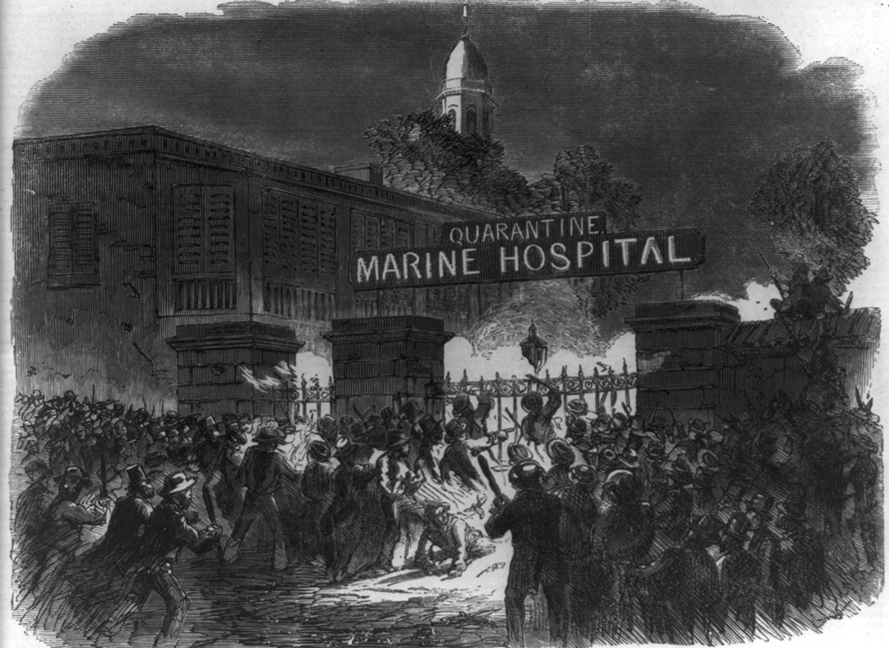Attack on the Marine Hospital, from Harper's Weekly, 1858.