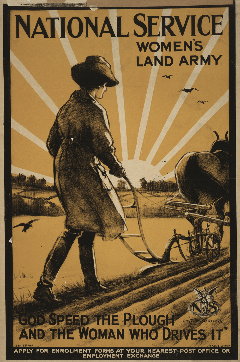 Poster of a woman using a plow pulled by a horse.