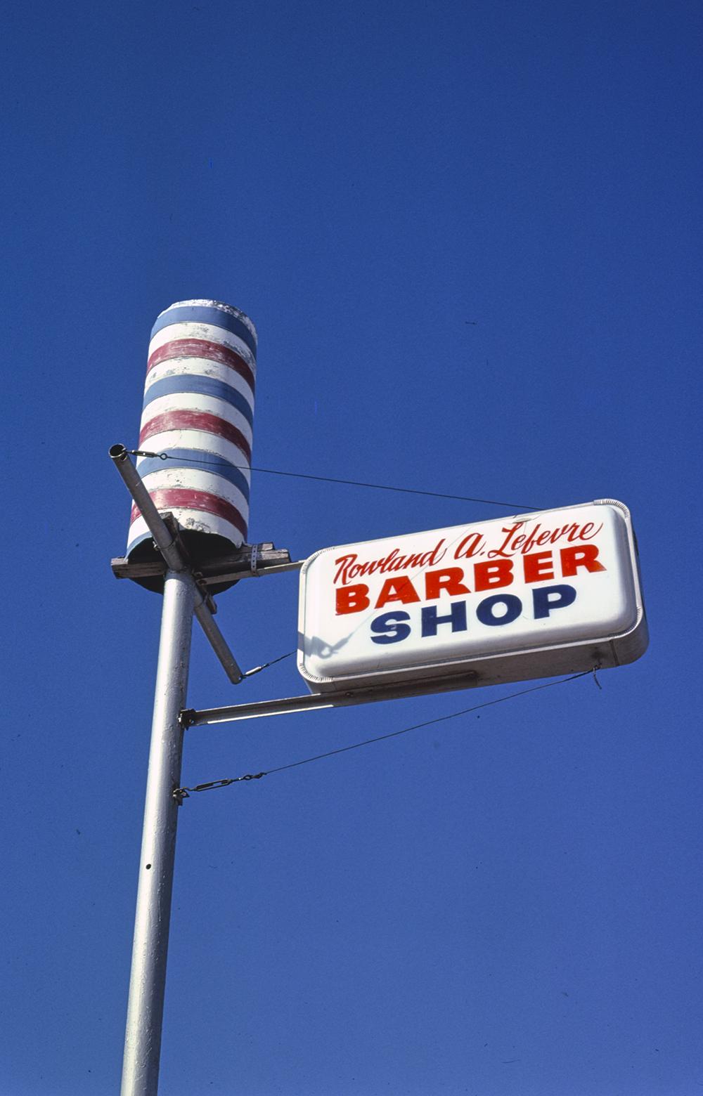 Barber pole in Abilene, Texas, 1979. Photograph by John Margolies.