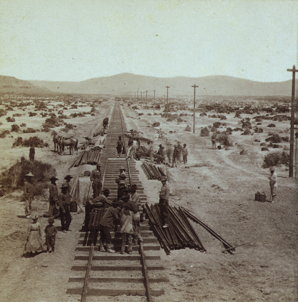 Photograph of railroad-track construction by Chinese railroad workers on Humboldt Plains by Alfred A. Hart, c. 1865.