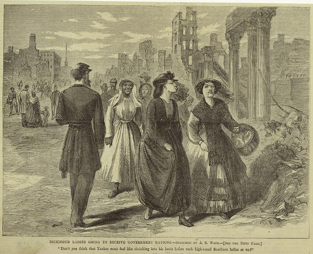 Richmond Ladies Going to Receive Government Rations, by Alfred R. Waud, 1865. The New York Public Library, The Miriam and Ira D. Wallach Division of Art, Prints and Photographs.