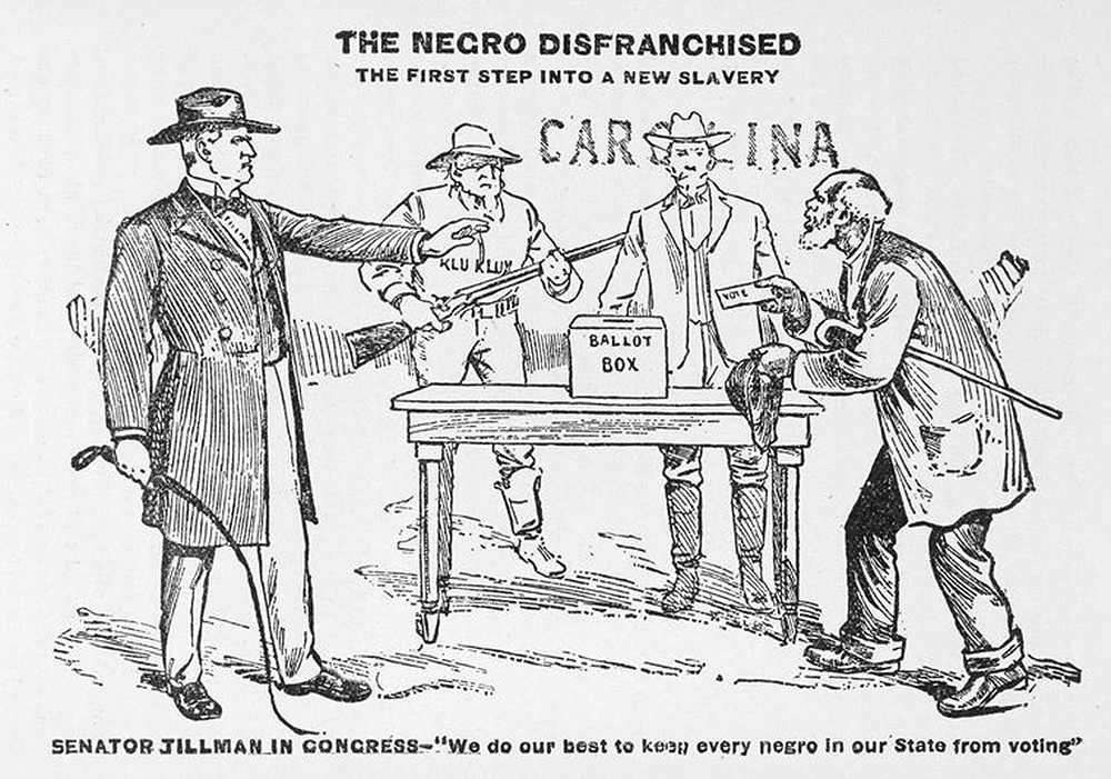 """The Negro Disfranchised, from """"Tragedy of the Negro in America: A Condensed History of the Enslavement, Sufferings, Emancipation, Present Condition, and Progress of the Negro Race in the United States of America."""" The New York Public Library, Schomburg Center for Research in Black Culture."""