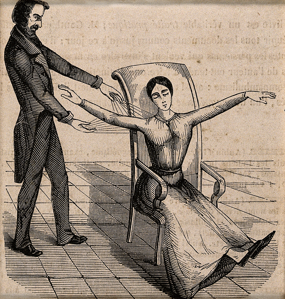 A mesmerist using animal magnetism on a woman who responds with convulsions, c. 1845. Wellcome Library.