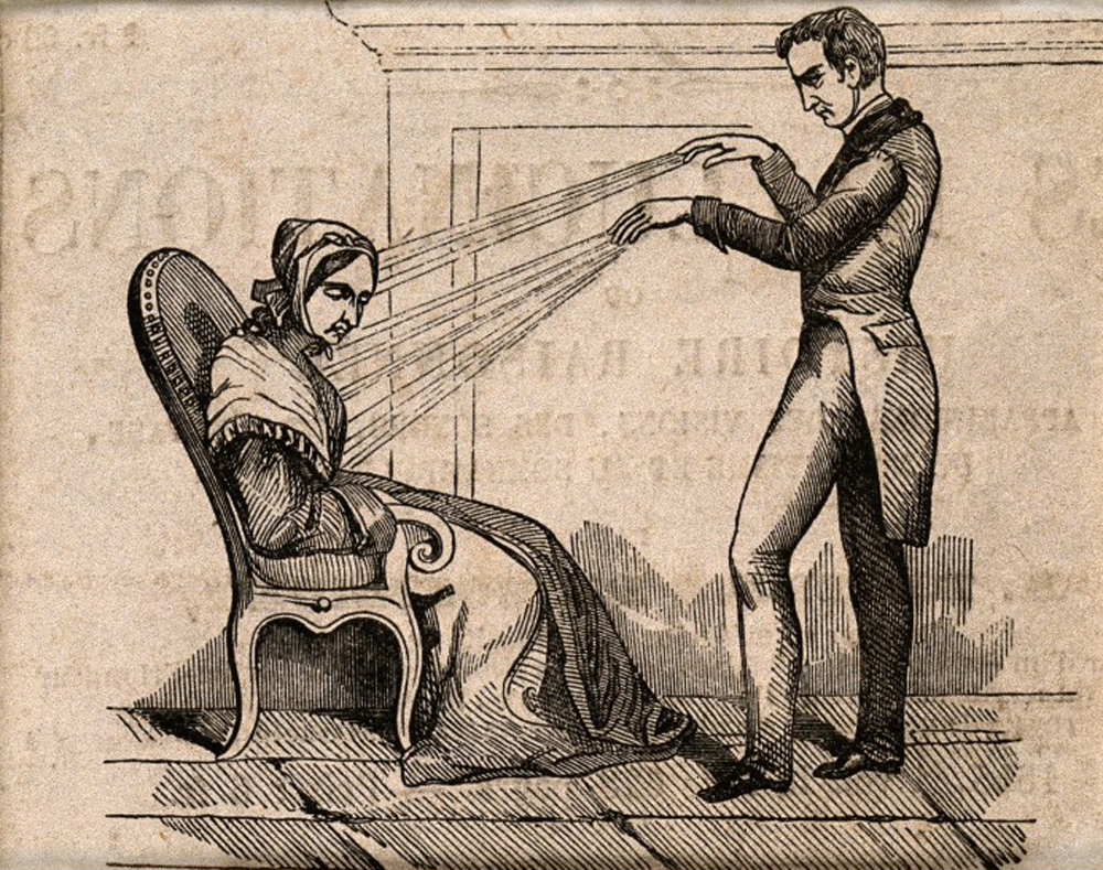 Wood engraving of mesmerism in practice, c. 1845. Wellcome Library