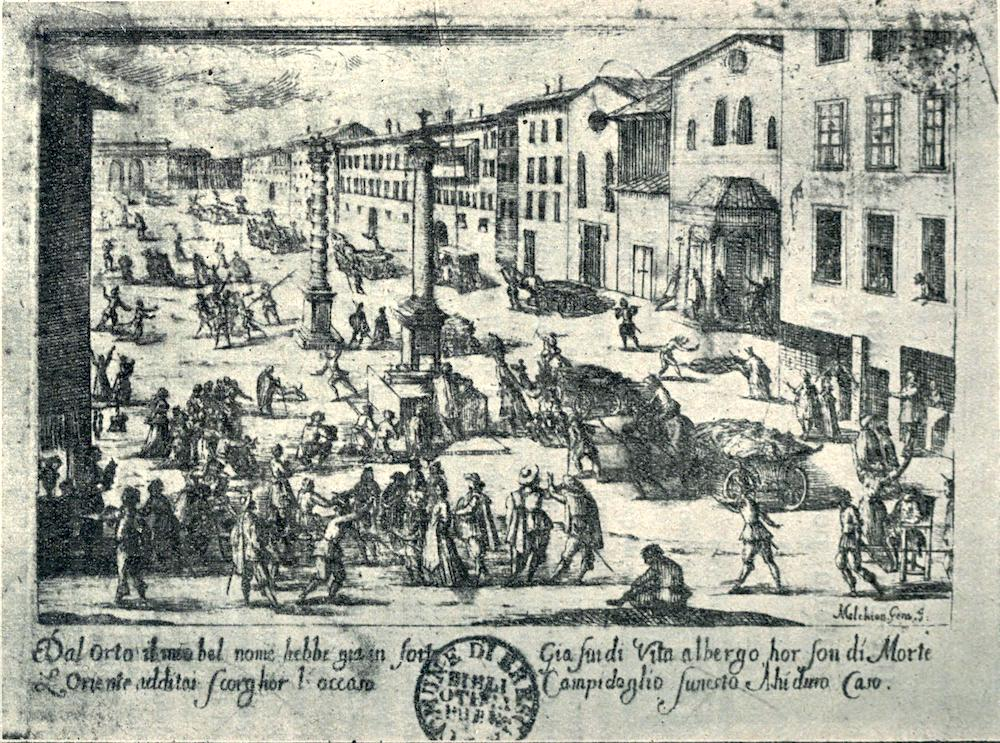 Etching. View of Piazza San Babila, Milan during the plague of 1630. Eight plague carts laden with corpses head towards the Porta Orientale—presumably to the cemetery of S. Gregorio which stood by the lazaretto beyond the city gate.