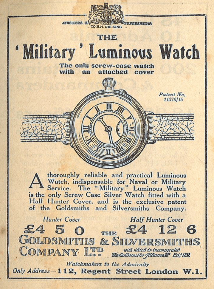 "Advertisement for a ""Military"" Luminous Watch, 1918."