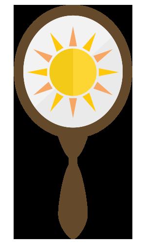 Hand mirror with a sun inside