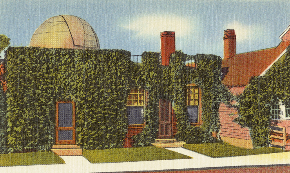 Postcard of the observatory at birthplace of Maria Mitchell, Nantucket, Massachusetts, c. 1930. Boston Public Library, The Tichnor Brothers Collection.