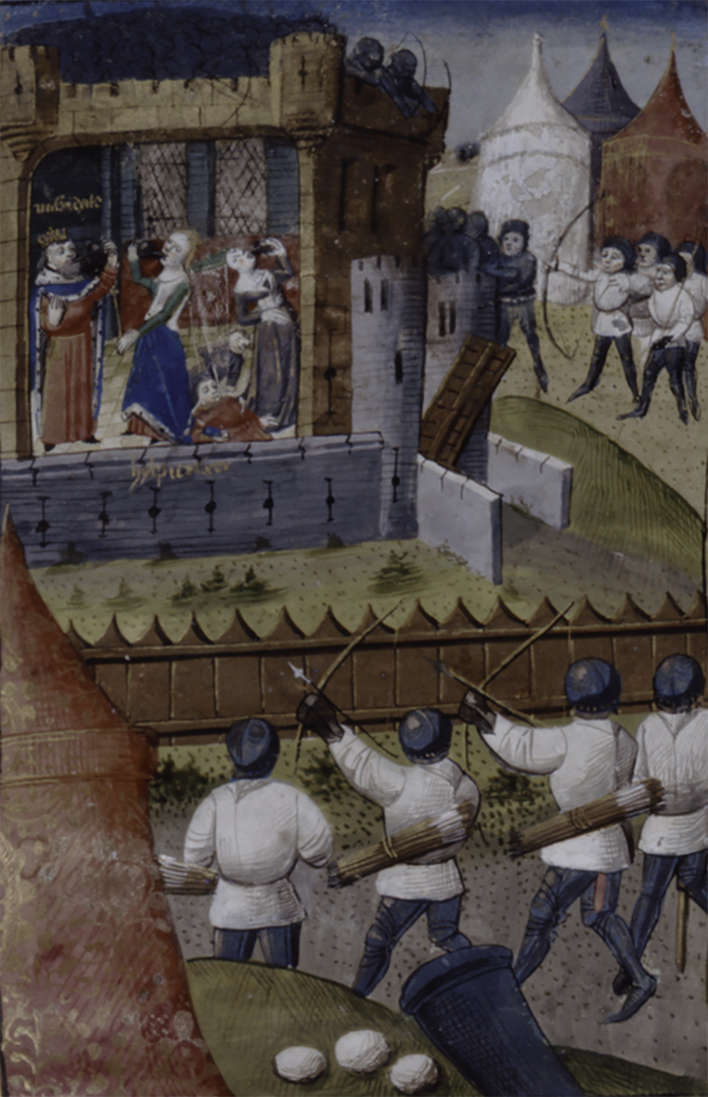 Miniature showing Roman archers surrounding and attacking the palace chamber where Mithridates, Hypsicratea, and three others are drinking poison from chalices, from a manuscript of De claris mulieribus by Giovanni Boccaccio, 1450.