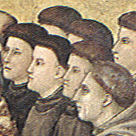 A painting of Franciscan monks standing together