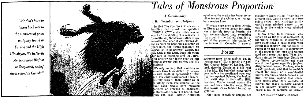 "Image of page 1 of Nicholas von Hoffman, ""Tales of Monstrous Proportion,"" Washington Post, August 25, 1976."