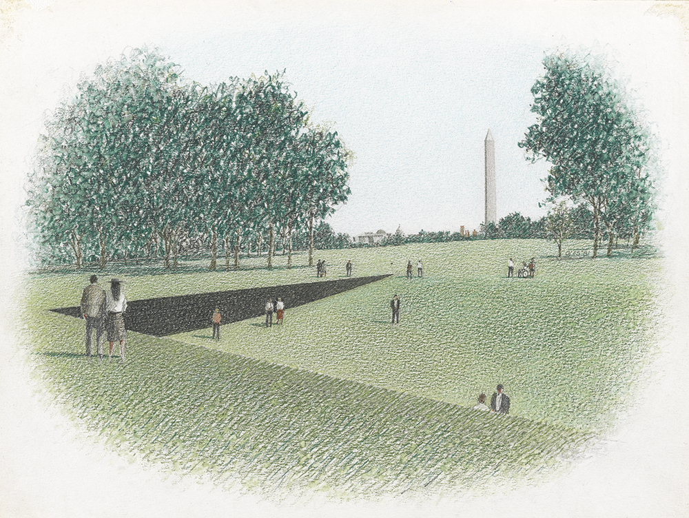 Illustration of Maya Lin's design for the Vietnam Veterans Memorial, with Maya Lin and Paul Stevenson Oles in the foreground, by Paul Stevenson Oles, 1981.