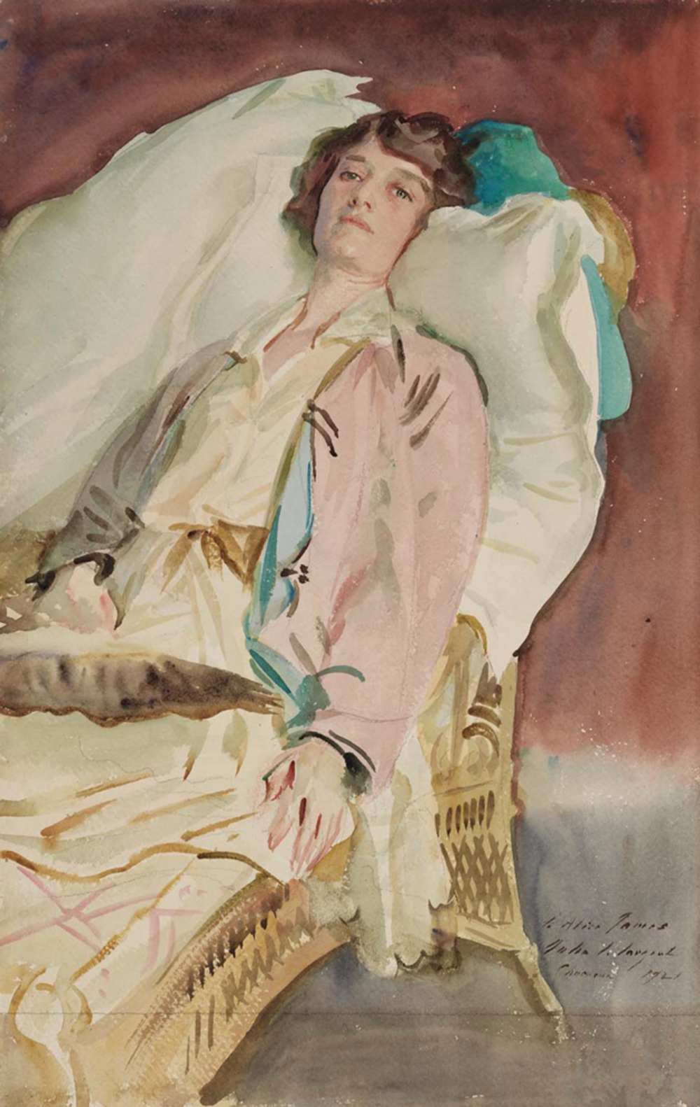 Alice Runnells James, by John Singer Sargent, 1921. Museum of Fine Arts, Boston, Gift of William James. This portrait depicts the wife of William's son Billy.