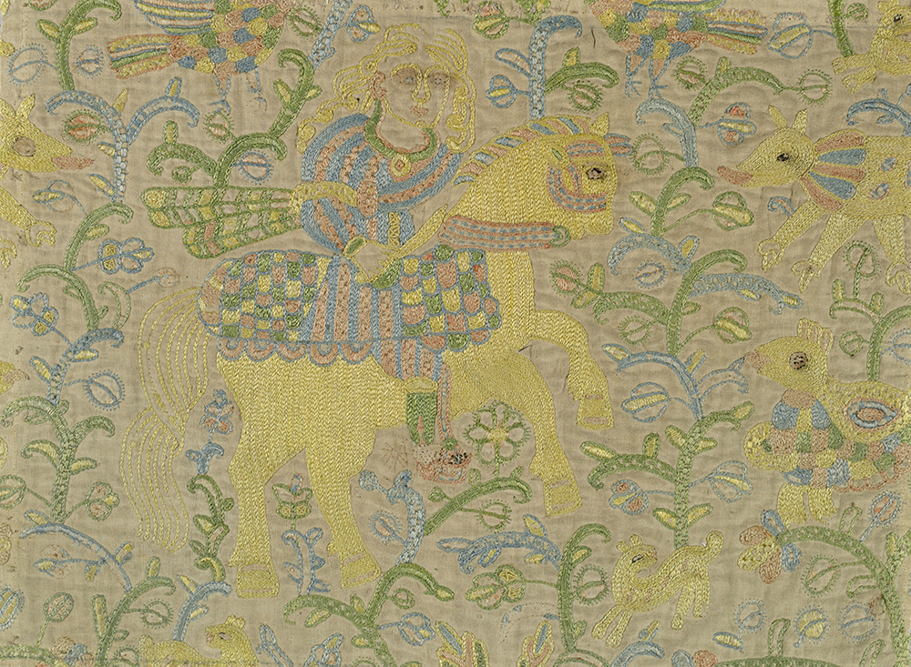 Mughal-style fragments of embroidered silk on linen, India, seventeenth century. Cooper Hewitt, Smithsonian Design Museum, Bequest of Marian Hague, 1971-50-75-a,b.