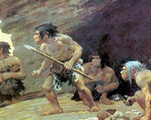 Drawing of several Neanderthal. One holds a spear.