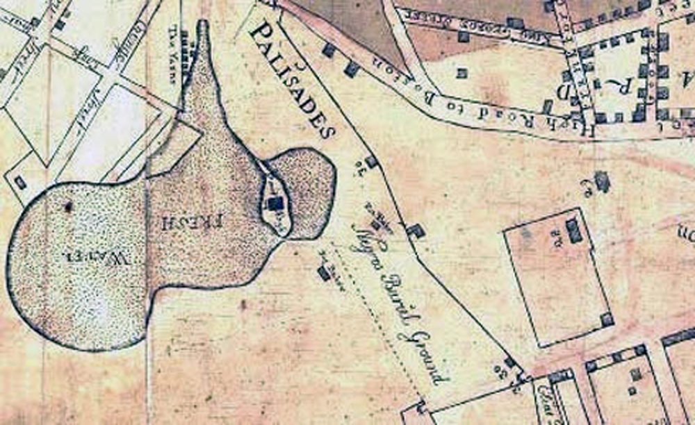 "Maerschalck Map of 1754, with Negro Burial Grounds near the ""Fresh Water"" or Collect Pond. (The African Burial Ground Project, Howard University)"