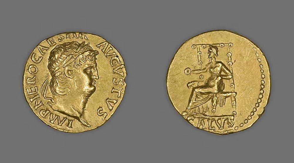Coin portraying (left) Emperor Nero and (right) Salus, c. 66. Art Institute of Chicago, Gift of William F. Dunham.