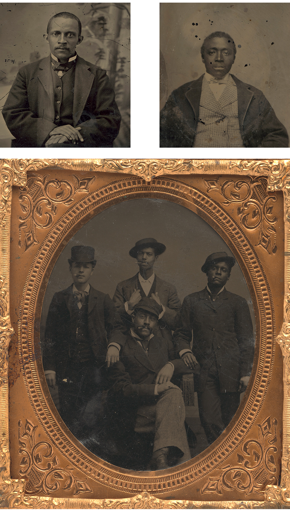 Three tintypes, c. 1856.