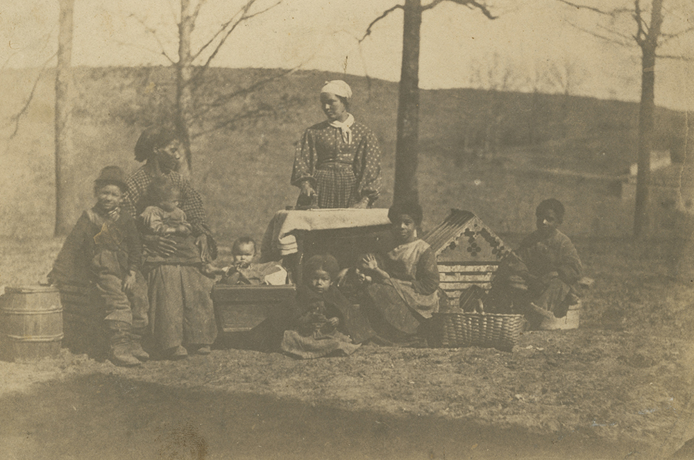 Albumen print of enslaved women and their children near Alexandria, Virginia, c. 1861. Photograph by James E. Larkin.