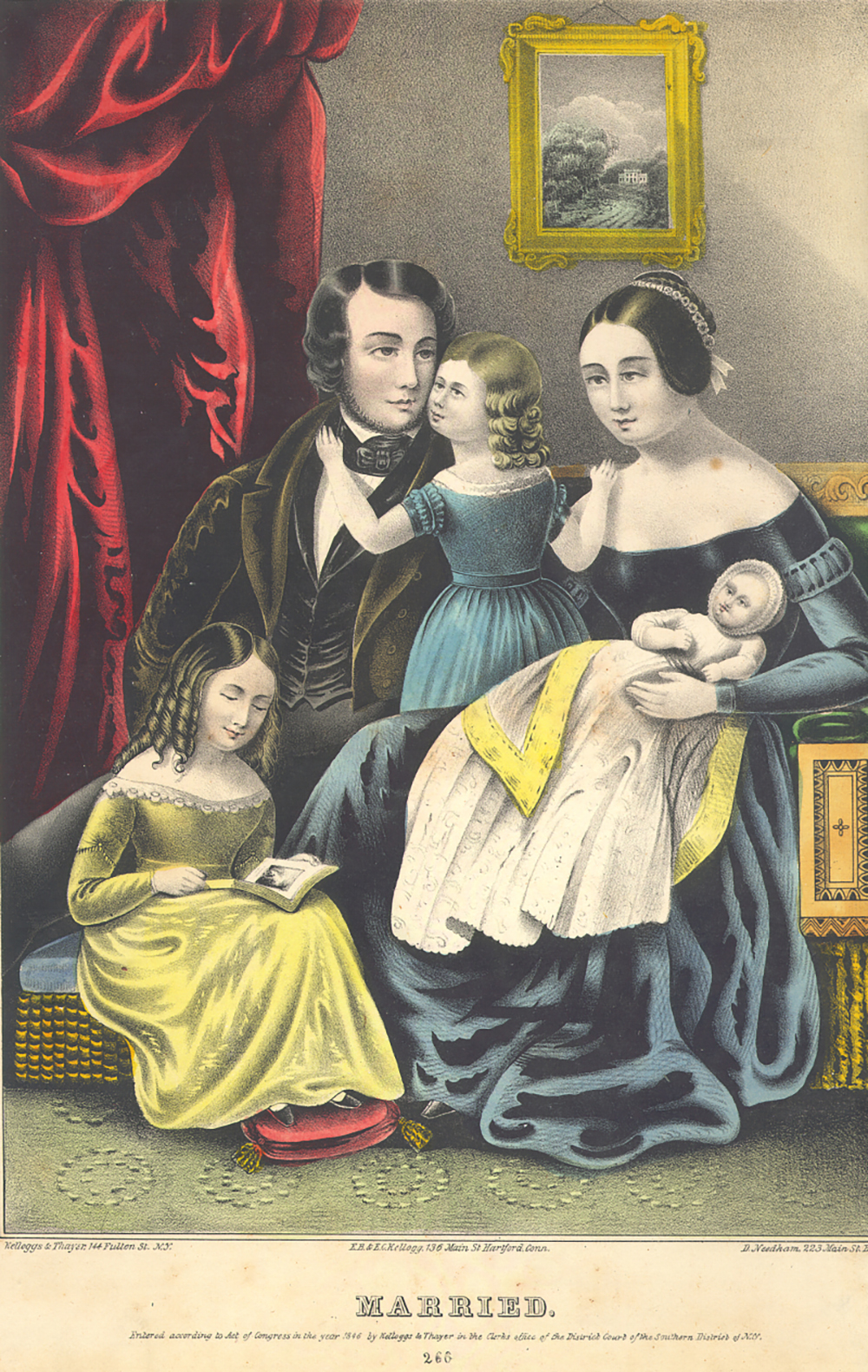 """Married, by Kelloggs & Thayer, c. 1849. Smithsonian National Museum of American History, Harry T. Peters """"America on Stone"""" Lithography Collection."""