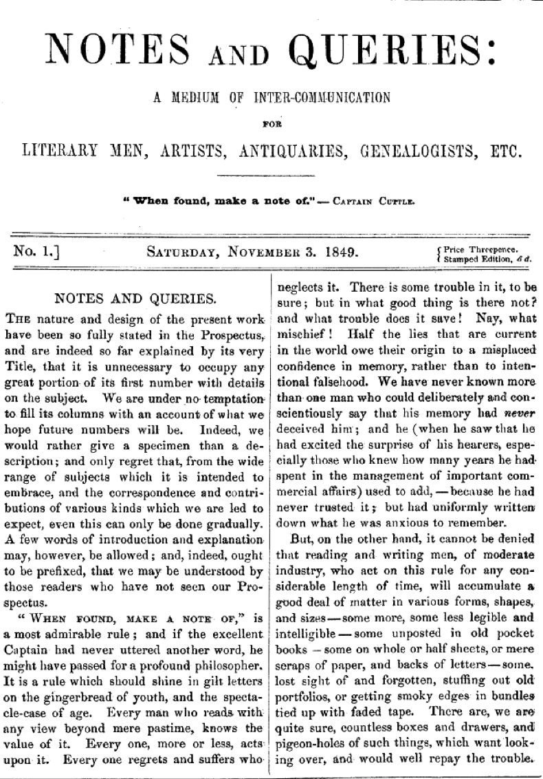 Page 1 of the first issue of Notes and Queries, dated November 3, 1849. Internet Library of Early Journals.
