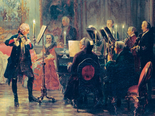 An eighteenth-century painting depicting a man in a white wig performing on his flute, accompanied by a piano and several other musicians, for a small crowd in an opulently decorated gilt room.
