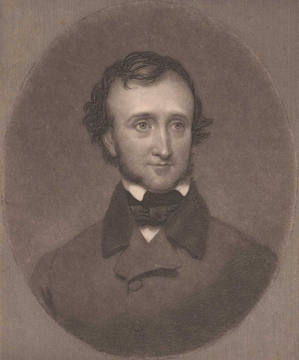 Edgar Allan Poe, engraving by John Sartain of a picture in the collection of R.W. Griswold, 1849.