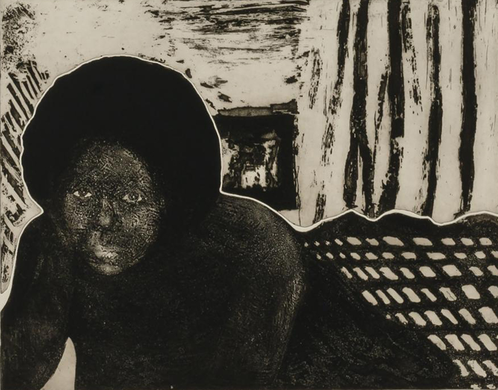 American Girl, from the portfolio Impressions: Our World, Volume I, by Emma Amos and Linda Swanson, 1974. Smithsonian American Art Museum, Transfer from the National Endowment for the Arts.