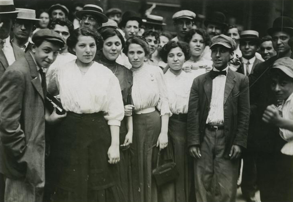 Group of Jewish workers in New York factory, c. 1912. Photograph by Lewis Wickes Hine. Library of Congress, The Miriam and Ira D. Wallach Division of Art, Prints, and Photographs.