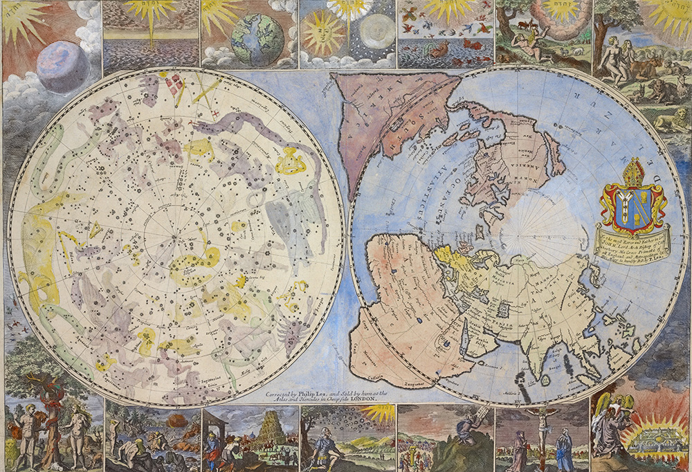 Map of the heavens and the earth, c. 1699. New York Public Library, Lionel Pincus and Princess Firyal Map Division.