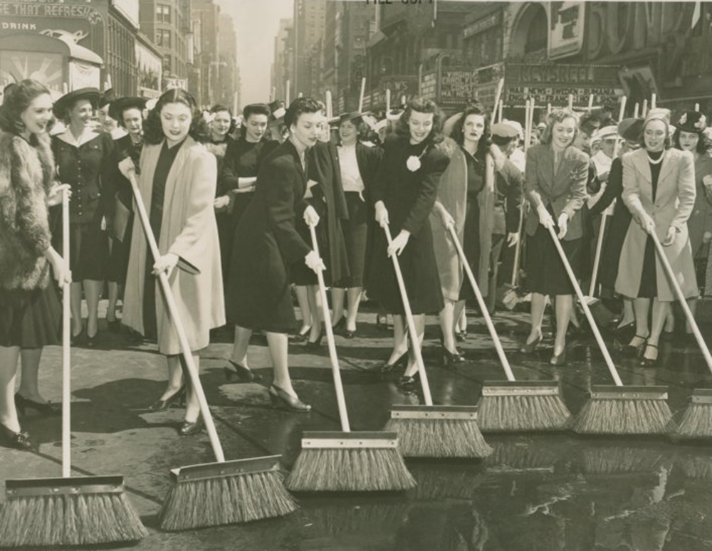 Street cleaning, c. 1940. New York Public Library, Manuscripts and Archives Division.