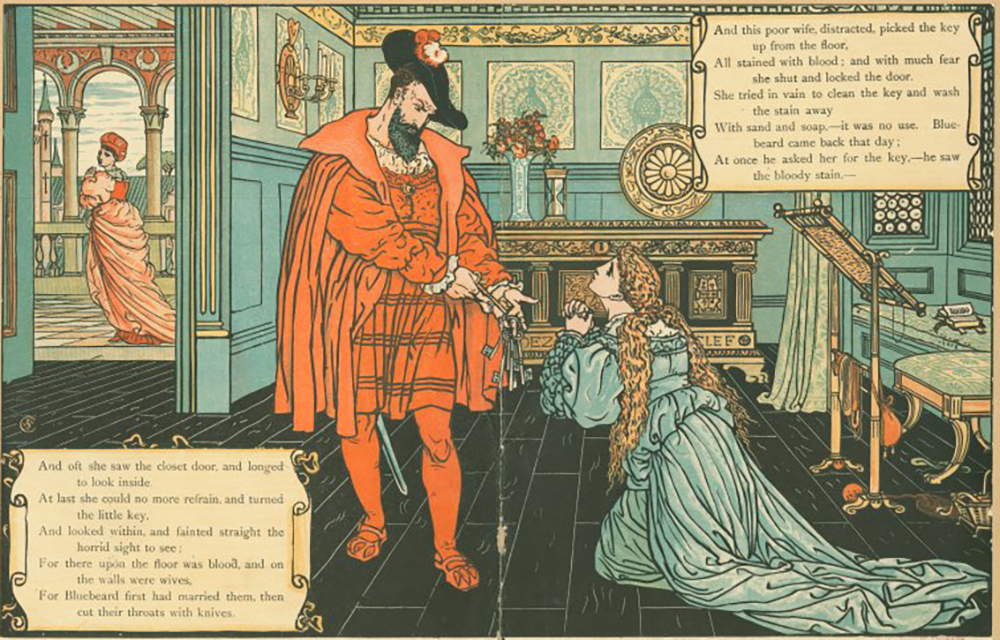 Illustration from a children's book about Bluebeard by Walter Crane and Edmund Evans. The New York Public Library, The Miriam and Ira D. Wallach Division of Art, Prints and Photographs.