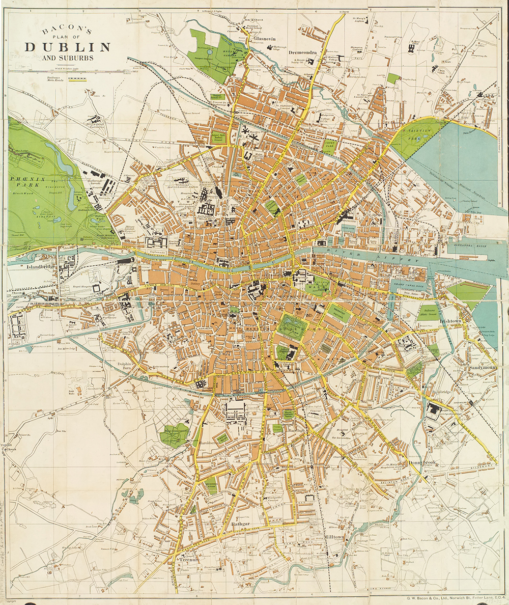 Large-scale plan of Dublin, G.W. Bacon & Co., c. 1915. The New York Public Library, Lionel Pincus and Princess Firyal Map Division.