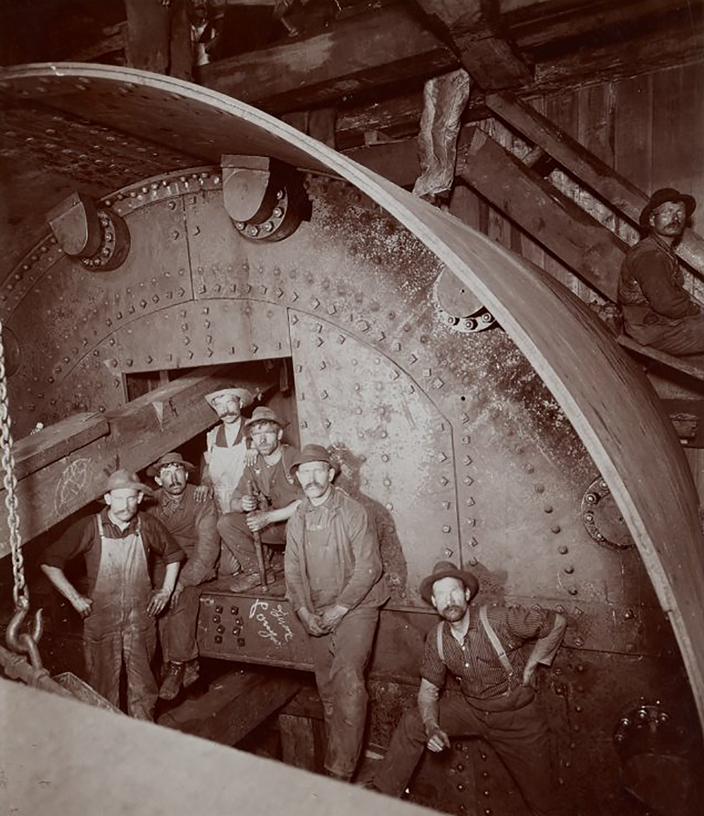 Subway construction workers on break, c. 1901.