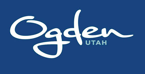 A blue rectangle with the words Ogden and Utah in white and pale blue, respectively.