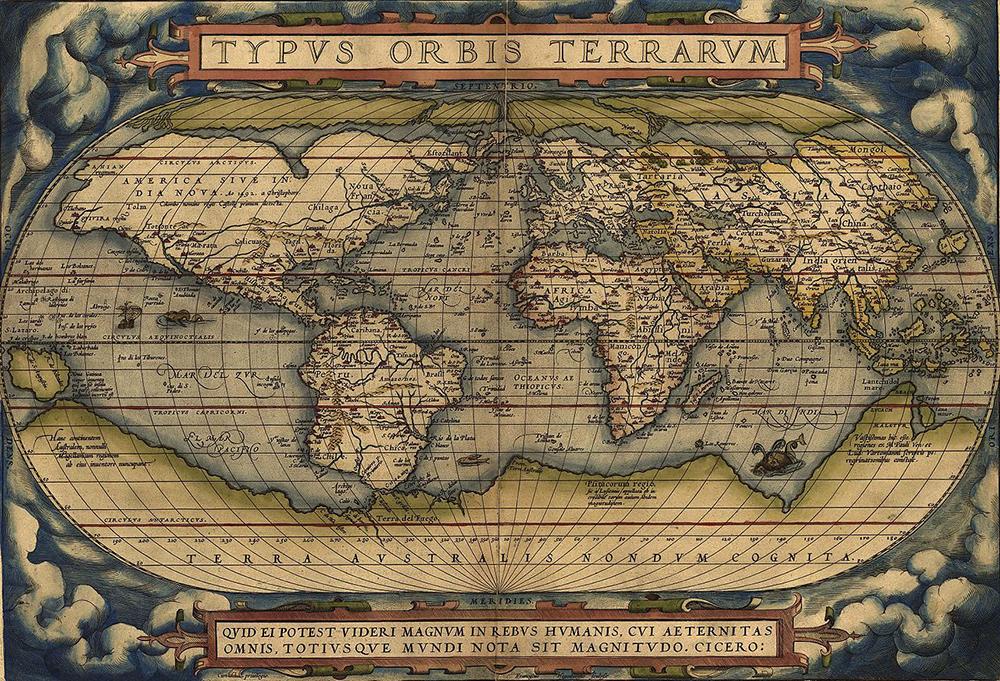 Typus Orbis Terrarum, by Abraham Ortelius, 1570. Wikimedia Commons, Library of Congress.