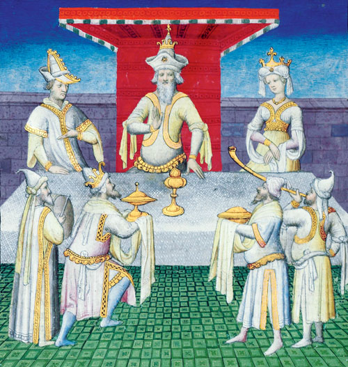 a medieval image depicting three figures bringing gold objects to three other people, two of whom are wearing crowns. All the figured are dressed in white.