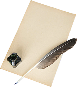 Sheet of paper with a quill and inkpot