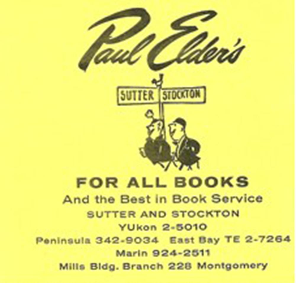 Advertisement for Paul Elder's Books, California.