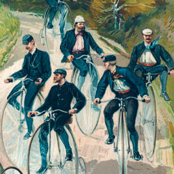 A painting of a group of men riding penny farthing bicycles.