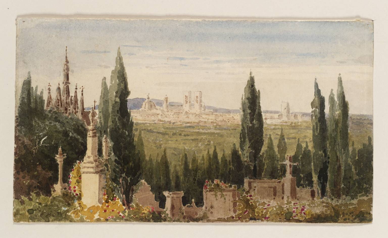 A watercolor painting of Pere Lachaise cemetery by Julia Emily Gordon.