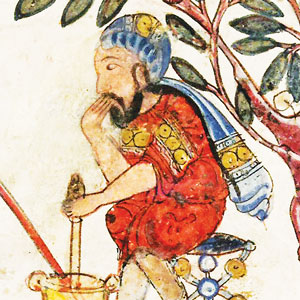 An image from a manuscript showing a man wearing a scarf on his head and mixing something in a bowl.
