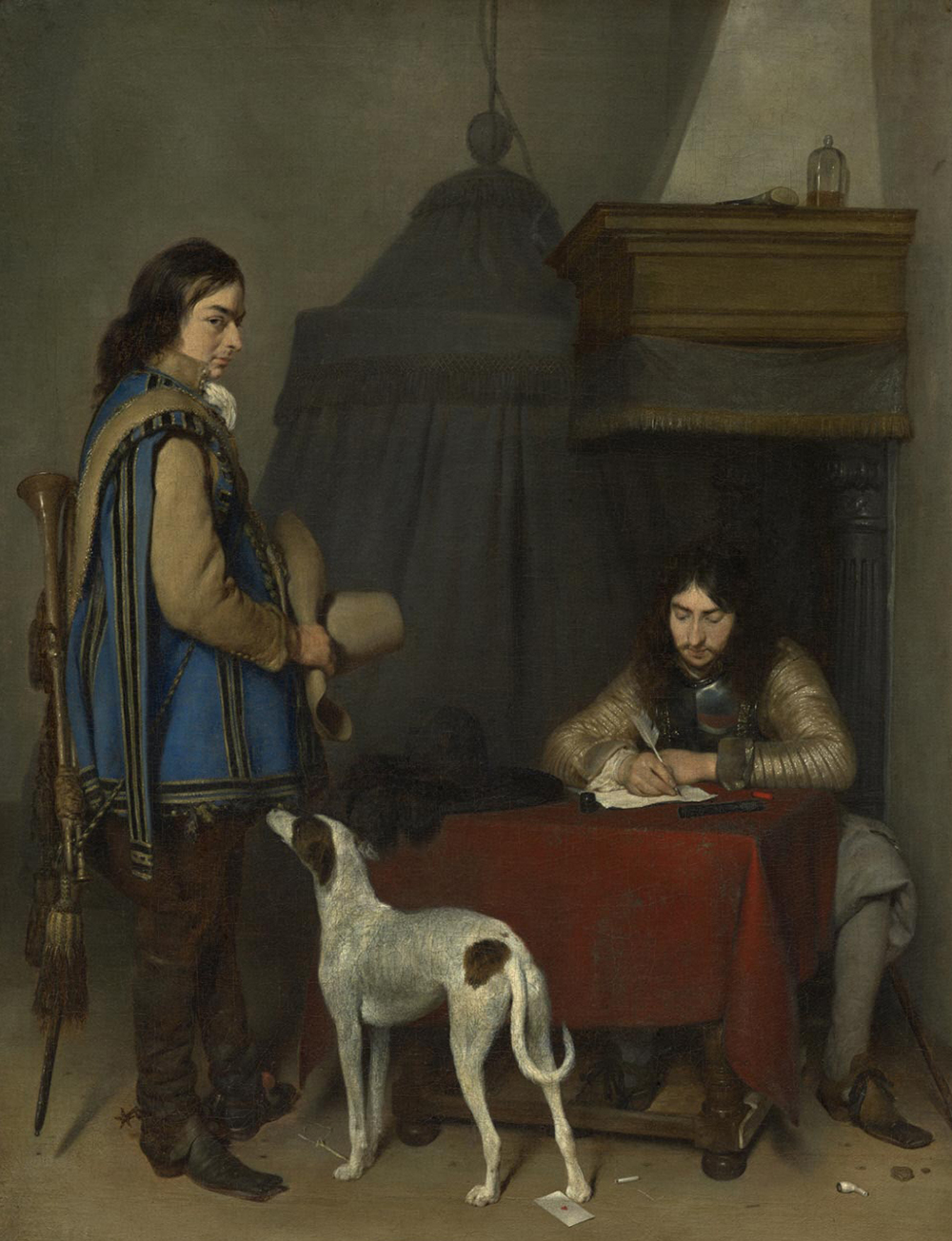 Officer Writing a Letter, with a Trumpeter, by Gerard ter Borch, c. 1658. Philadelphia Museum of Art, The William L. Elkins Collection, 1924.